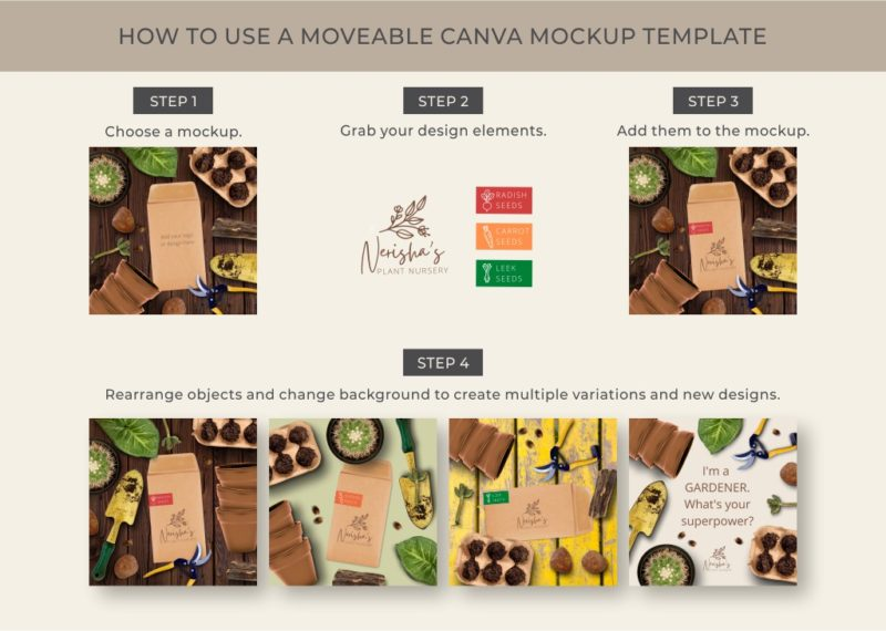 How to use Gardening mockup templates for Canva
