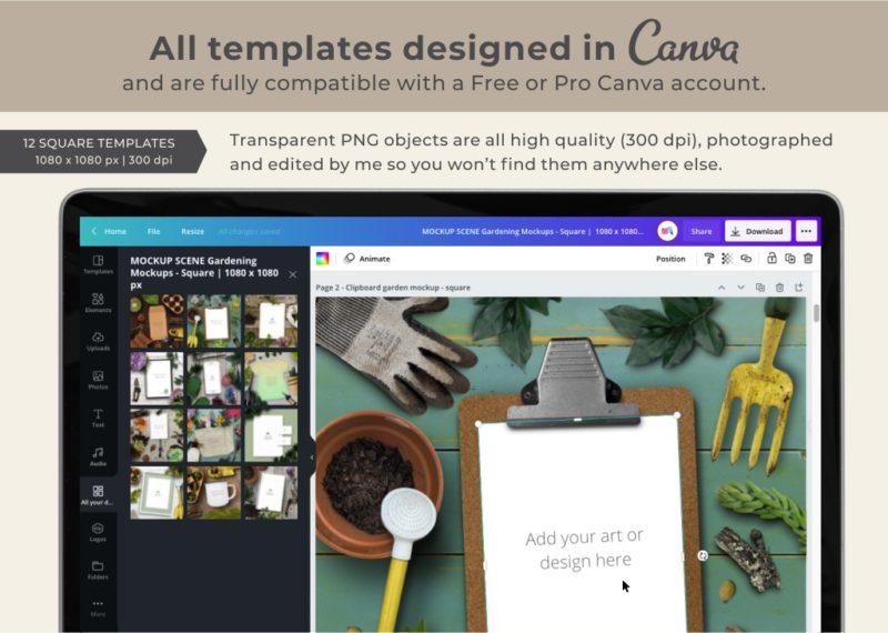 12 square Canva mockup templates
