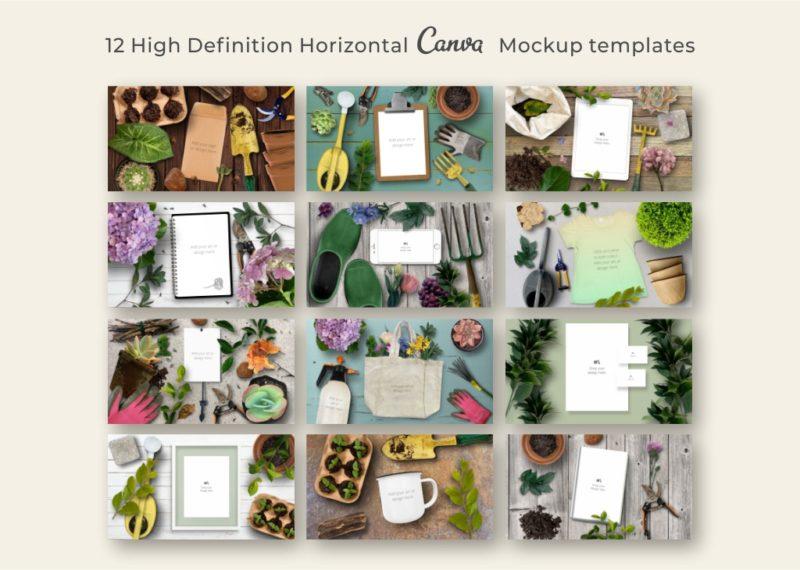 12 horizontal Canva mockup templates