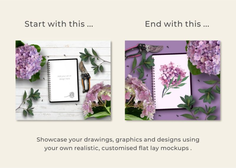 Showcase graphics, drawings, and designs