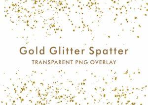 Gold Glitter Spatter PNG