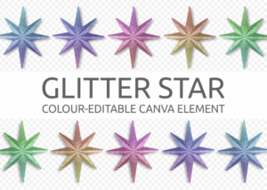 Glitter Star element for Canvas