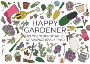 Happy Gardener Clipart Bundle
