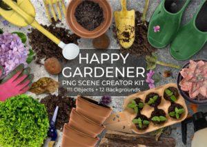 Happy Gardener PNG Scene Creator kit