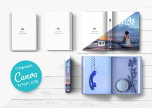 Book mockup kit template for Canvas
