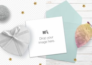 Square Christmas Card Mockup for Canva