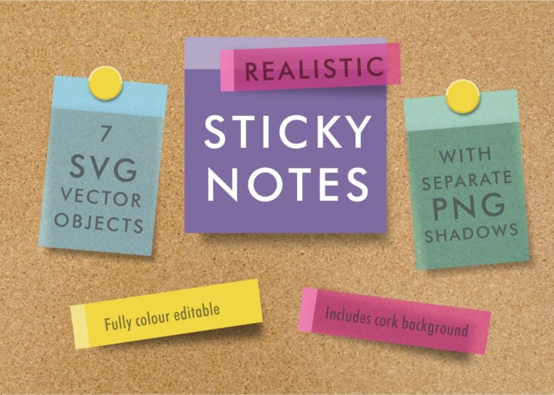 Realistic sticky note SVG objects